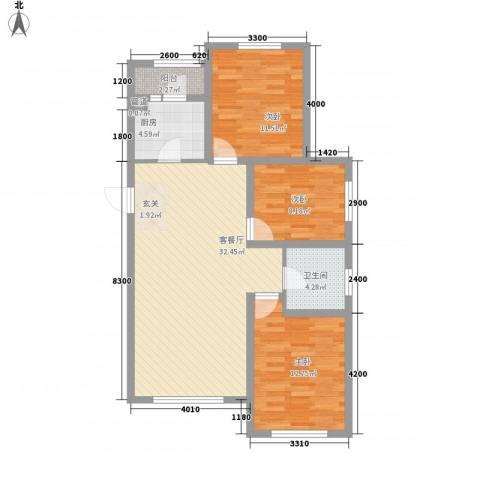 丰远・泗水玫瑰城3室1厅1卫1厨76.09㎡户型图