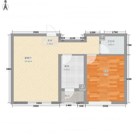 丰远・泗水玫瑰城1室1厅1卫1厨45.97㎡户型图