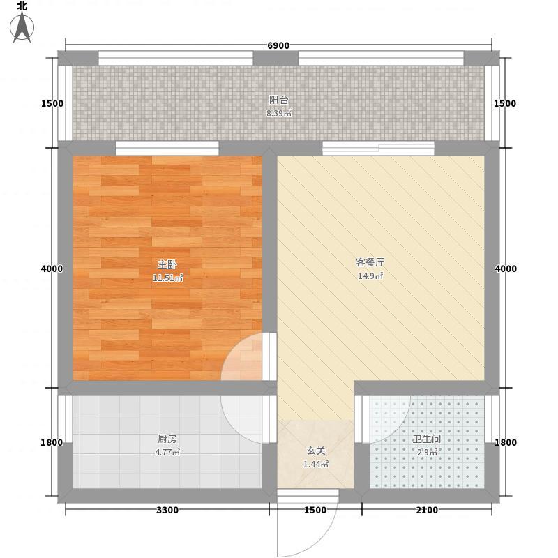 竹林广场2户型1室1厅1卫1厨
