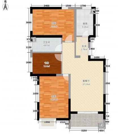 富工花园3室1厅1卫1厨111.00㎡户型图