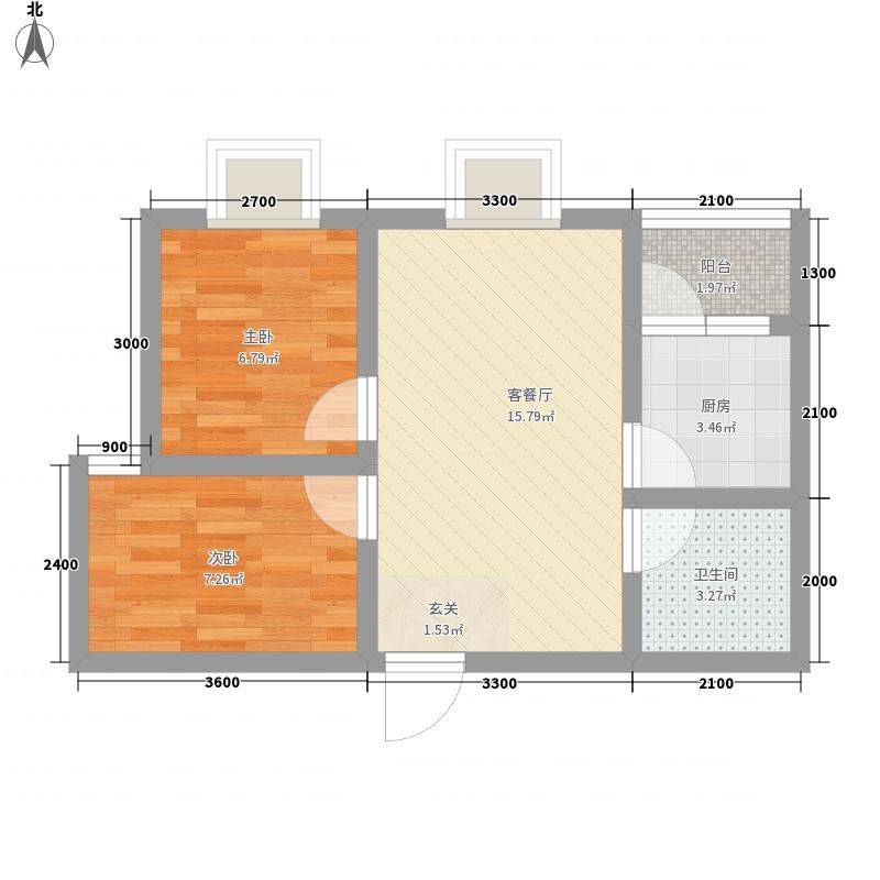 竹林广场1户型2室1厅1卫1厨