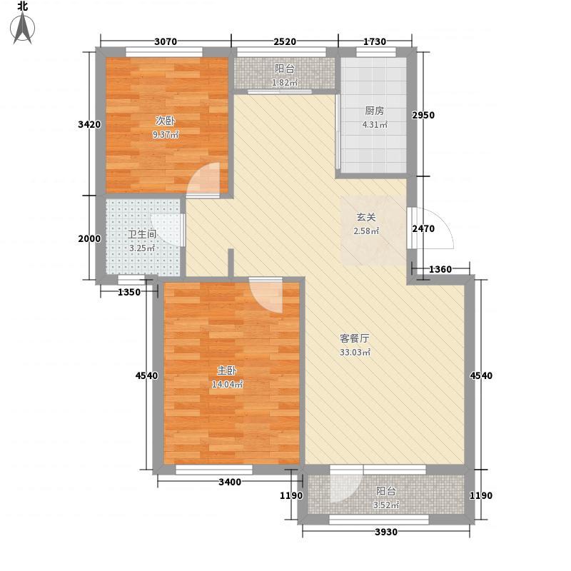 铭润福邸88.00㎡2、4号楼B户型2室2厅1卫1厨