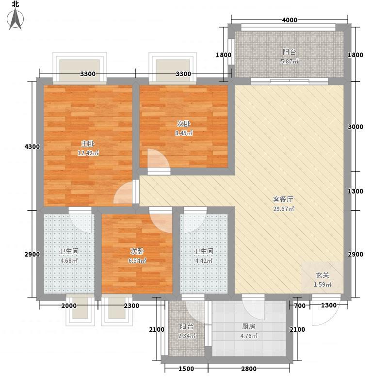 舒巢一品1.76㎡D1户型3室2厅2卫1厨