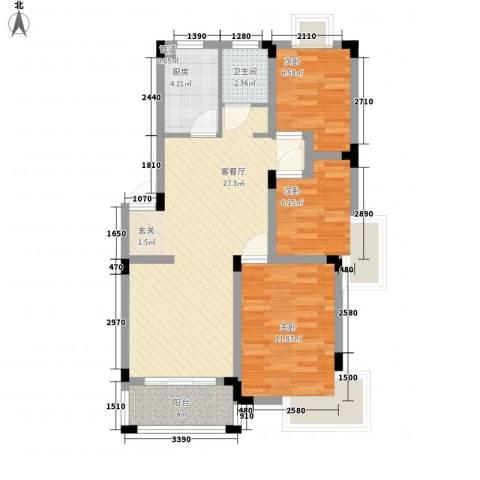 世纪绅城3室1厅1卫1厨62.49㎡户型图