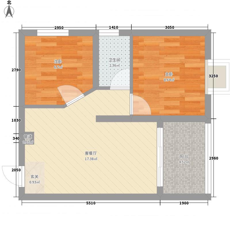 华南胜景57.30㎡一阳台户型2室2厅1卫