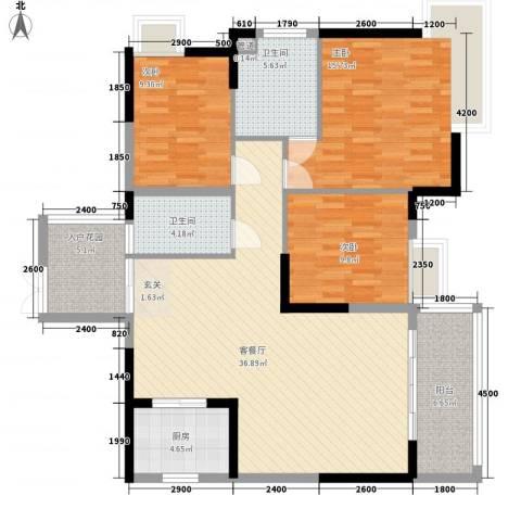 东方家园3室1厅2卫1厨124.00㎡户型图