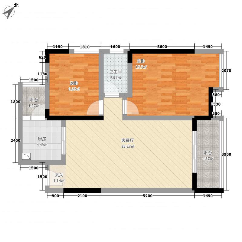 先成丽景天下85.40㎡小高层c户型2室2厅1卫1厨