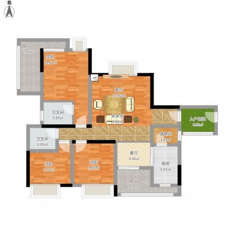 英祥春天3室1厅2卫1厨135.00㎡户型图