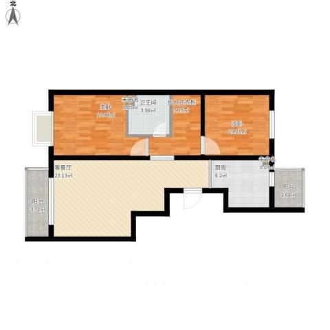 郁花园三里8号楼2室1厅1卫1厨98.00㎡户型图