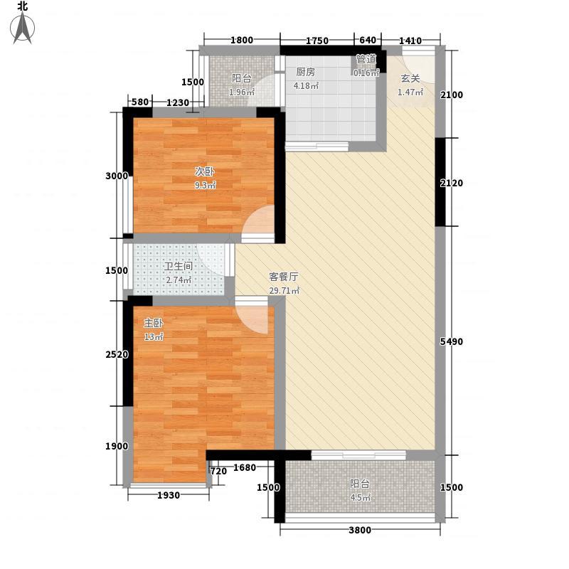 先成丽景天下84.46㎡小高层C2'户型2室2厅1卫1厨