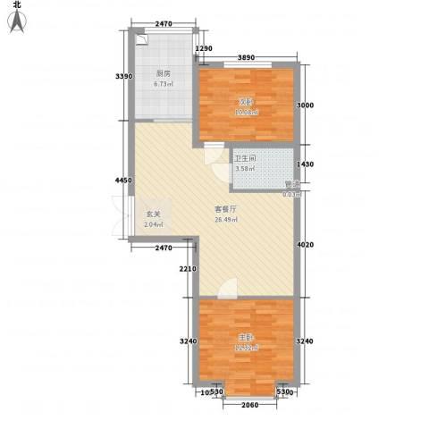 青青学邻2室1厅1卫1厨82.00㎡户型图
