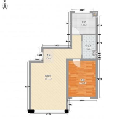 千禧名仕1室1厅1卫1厨63.00㎡户型图