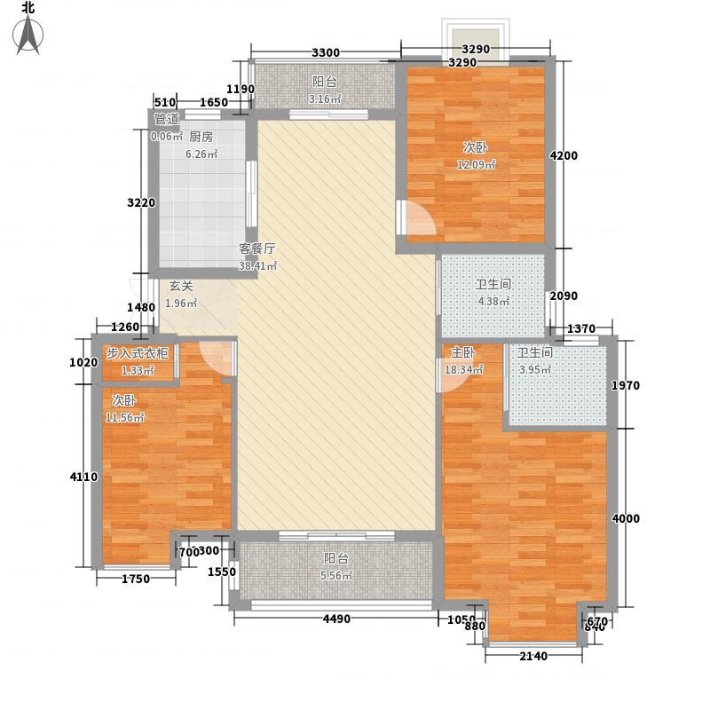 滨江时代城8125.20㎡D8户型3室2厅2卫1厨