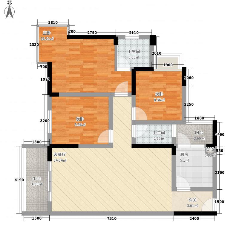 先成丽景天下111.00㎡小高层A户型3室2厅2卫1厨