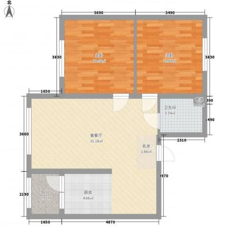 柏悦星城2室1厅1卫0厨88.00㎡户型图