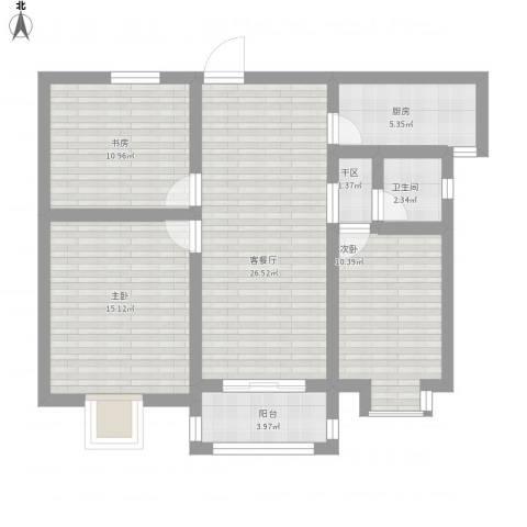 德惠・尚书房3室1厅1卫1厨109.00㎡户型图