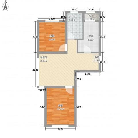 绿地・国际花都2室1厅1卫1厨74.00㎡户型图