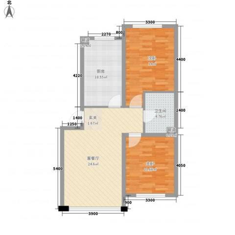 千禧名仕2室1厅1卫1厨85.00㎡户型图