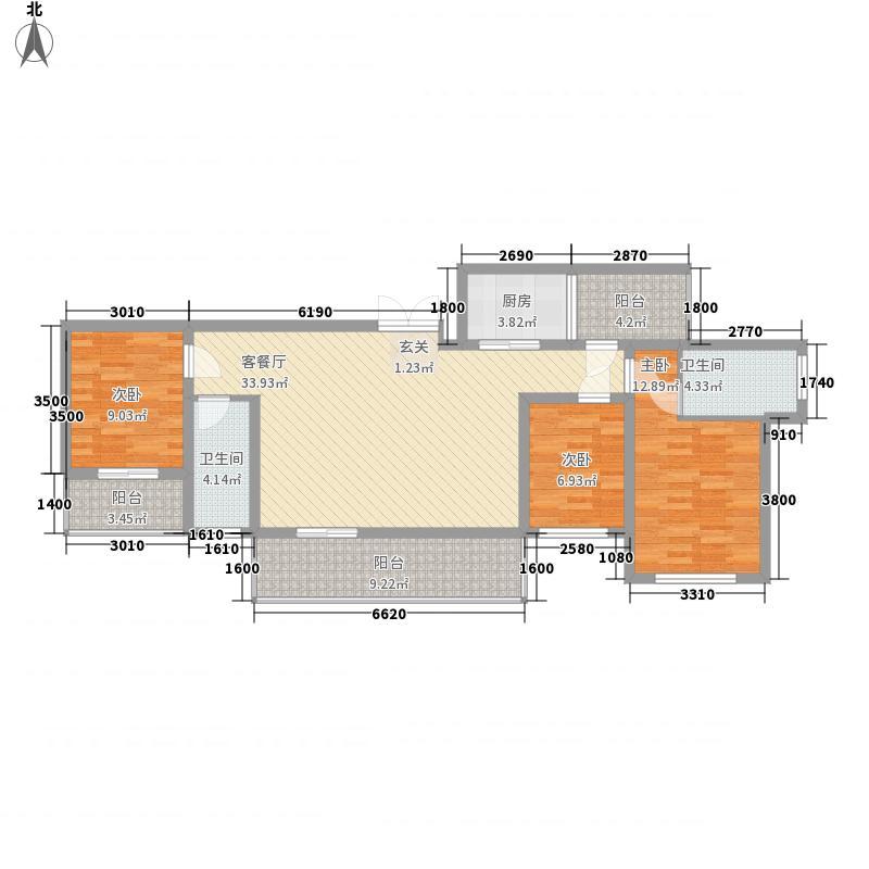 豪港华庭133488.20㎡13#3B-4户型3室2厅2卫1厨