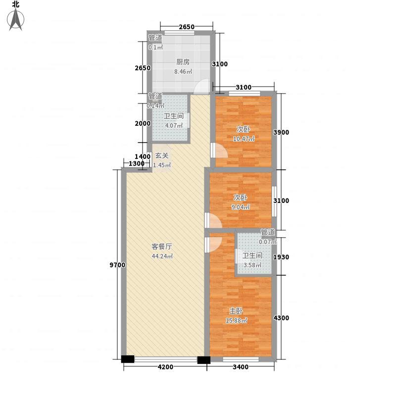 千禧名仕124.42㎡B1户型3室1厅2卫
