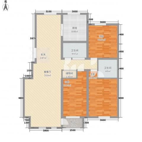 广厦新城3室1厅2卫1厨153.00㎡户型图