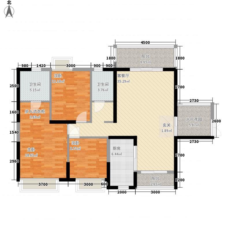 东方家园13.00㎡A5-1户型3室2厅2卫1厨