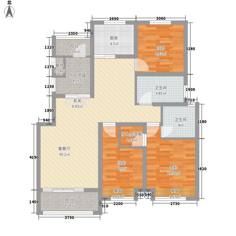 鹿港小镇124.00㎡户型3室2厅2卫1厨