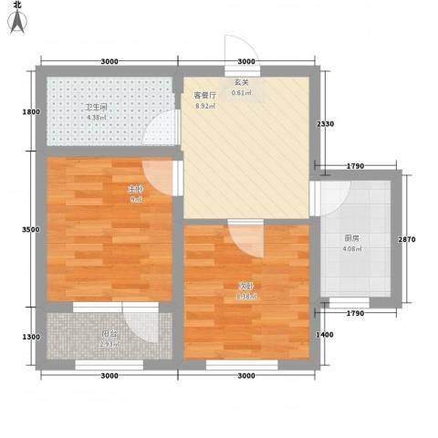 绿地・国际花都2室1厅1卫1厨56.00㎡户型图