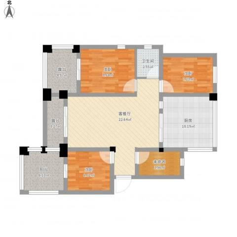 虹桥长江国际花园3室1厅1卫1厨115.00㎡户型图