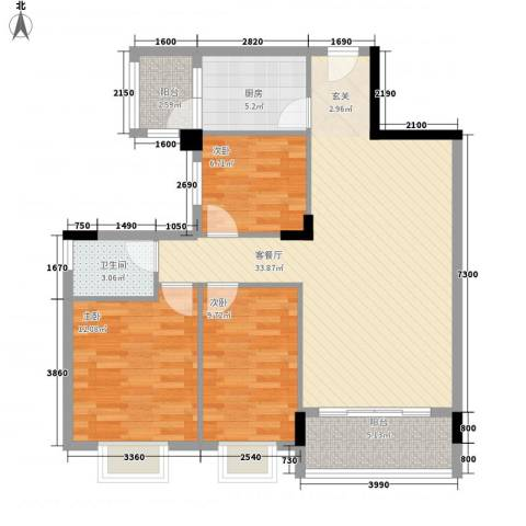 龙日花苑三期3室1厅1卫1厨78.36㎡户型图