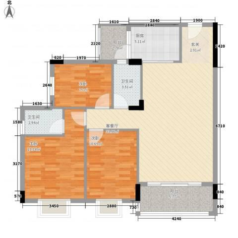 龙日花苑三期3室1厅2卫1厨85.81㎡户型图