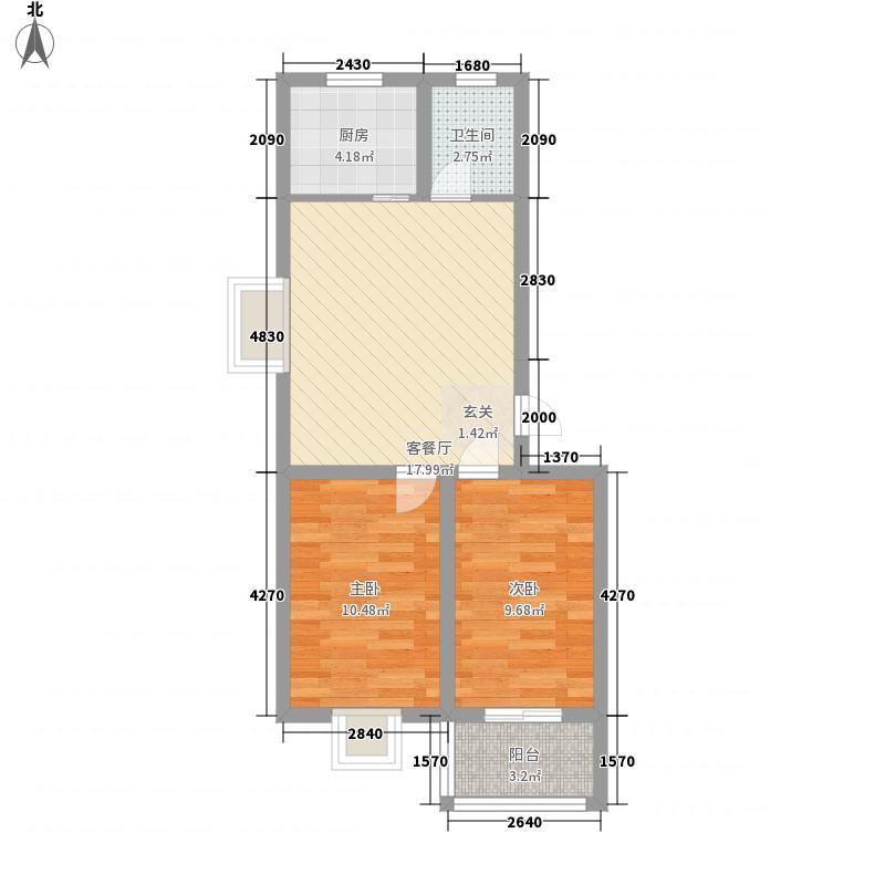 万福・海曲明珠7.00㎡B户型2室2厅1卫