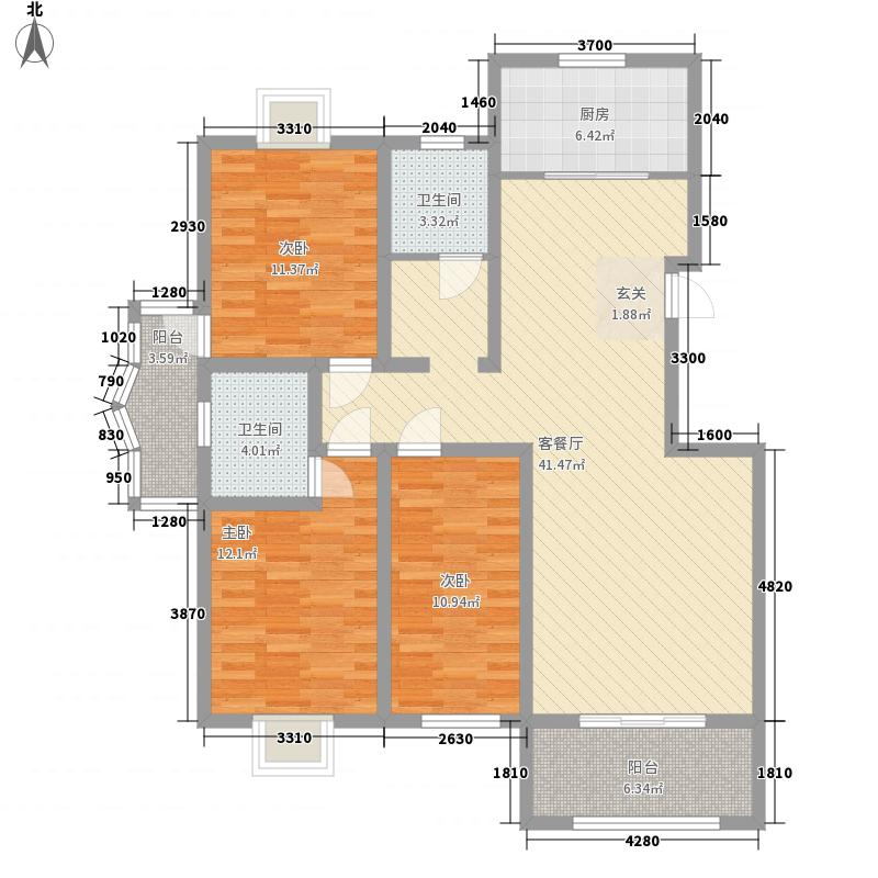 长泰镜湖花园143.85㎡户型3室2厅2卫1厨