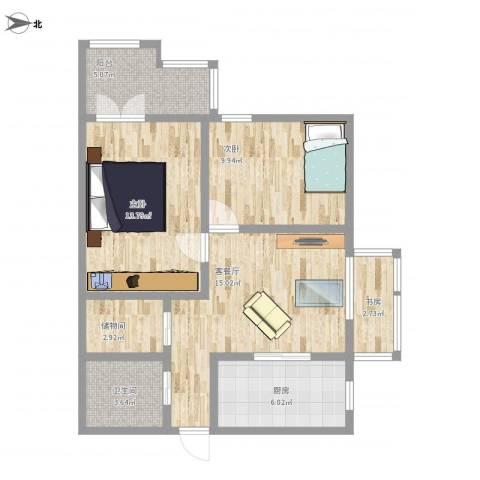 牛街西里3室1厅1卫1厨86.00㎡户型图