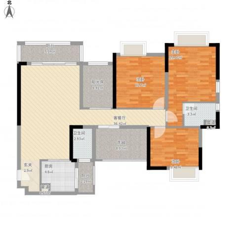世纪城幸福公馆3室1厅2卫1厨153.00㎡户型图