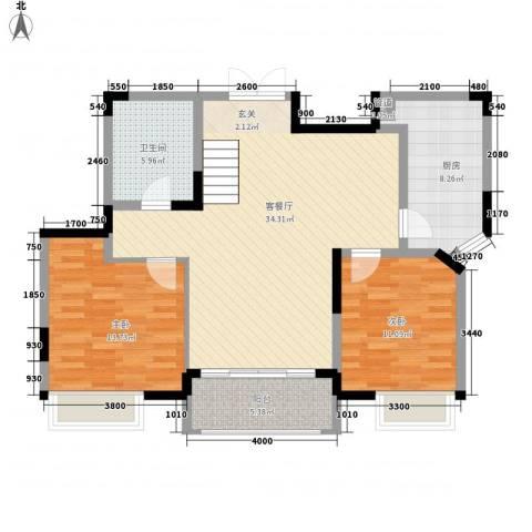 亲亲家园2室1厅1卫1厨112.00㎡户型图