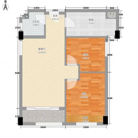 红河云岭・盛世佳园2室1厅1卫1厨84.00㎡户型图