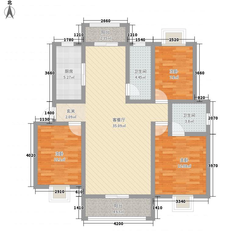 龙城春天二期126.00㎡标准层F户型3室2厅2卫1厨