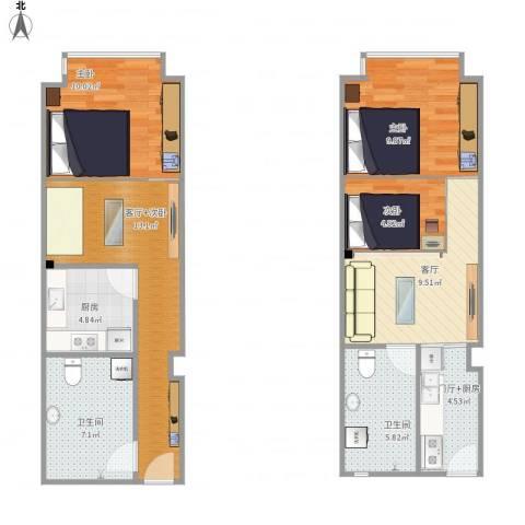 IN北京公寓3室1厅2卫1厨95.00㎡户型图