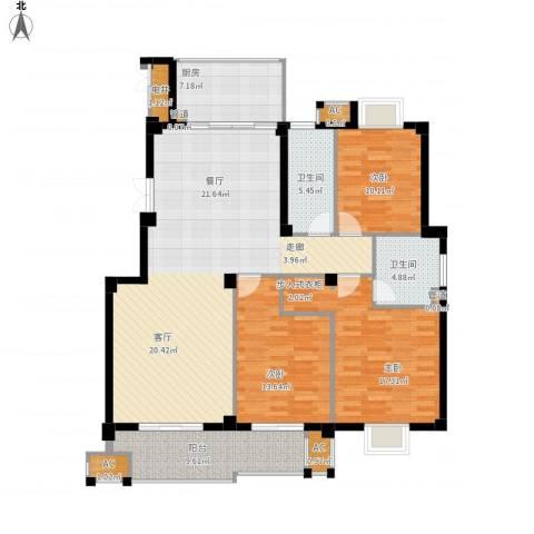 望湖公馆3室1厅2卫1厨165.00㎡户型图