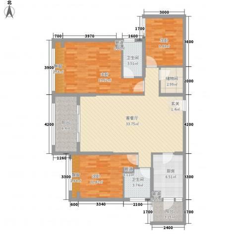 红河云岭・盛世佳园3室1厅2卫1厨135.00㎡户型图