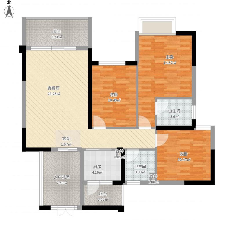 华商国际上海城12112.26㎡12号楼C1户型3室2厅2卫1厨