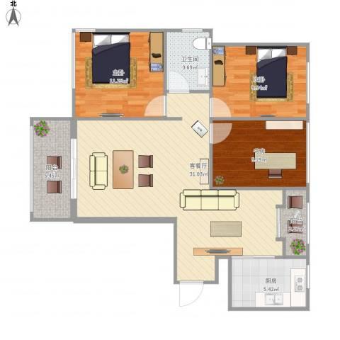 风华四季园3室1厅1卫1厨107.00㎡户型图