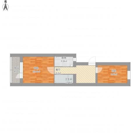 安宁庄水利一处宿舍2室1厅1卫1厨69.00㎡户型图