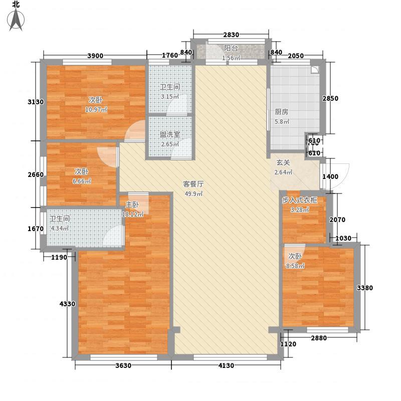 国运壹号4室2厅2卫1厨155.00㎡户型图