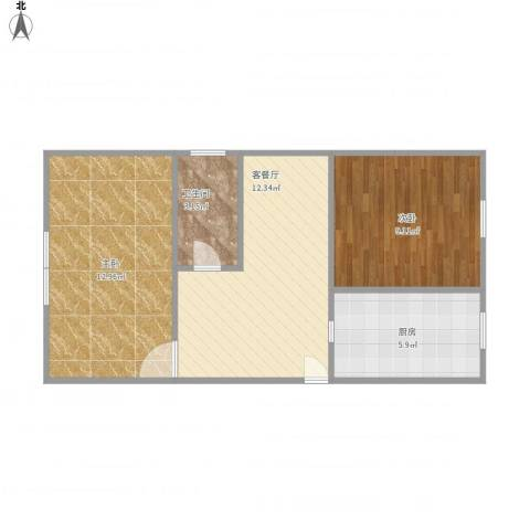 国都公寓2室1厅1卫1厨47.18㎡户型图