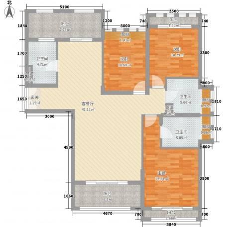 红河云岭・盛世佳园3室1厅3卫0厨142.00㎡户型图