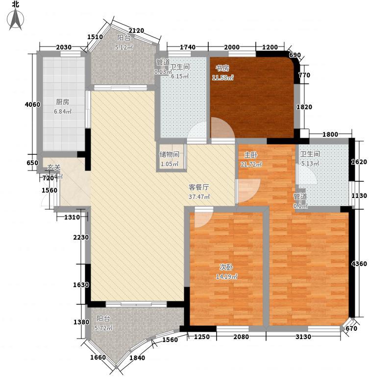 广洋海尚国际3室1厅2卫1厨164.00㎡户型图