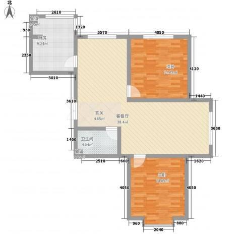 青青学邻2室1厅1卫1厨113.00㎡户型图