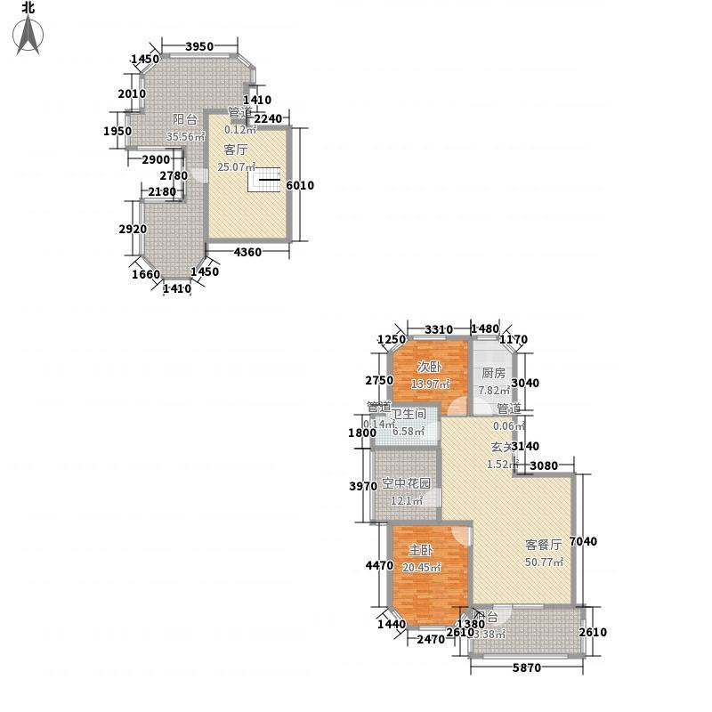 丰远・泗水玫瑰城85.43㎡高层顶层E6户型2室2厅1卫
